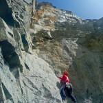 Niels in de steile zesdegraads lengte vd Ratti-V