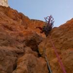 Niek op de standplaats na de steile sleutellengte (foto: K. Snoek)