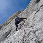 Niek in de mentale crux vd route, de Messner-platte ©M. v. Geemen