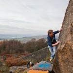 Rutger klimt de opwarm boulder