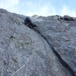 Niek aan het begin vd lastige 3e rotslengte © N.van Veen