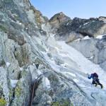 Het begin van het bovenste ijscouloir