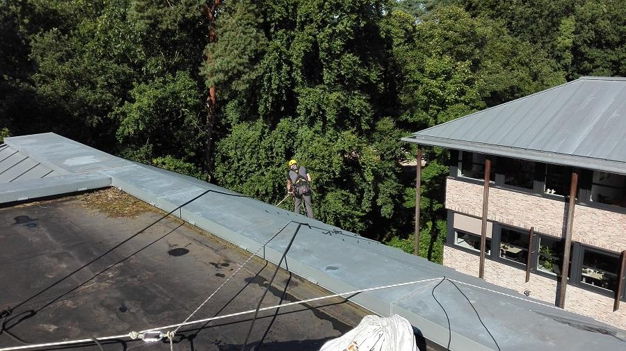 Marcel hard aan het werk om de dakgoten schoon te krijgen